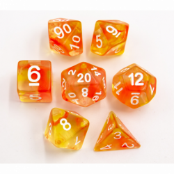 Red/Yellow Set of 7 Swirl Polyhedral Dice with White Numbers for D20 based RPG's