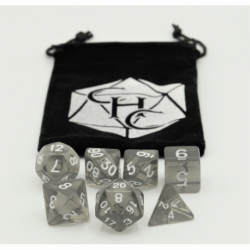 Black Set of 7 Transparent Polyhedral Dice with White Numbers for D20 based RPG's