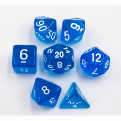Blue Set of 7 Transparent Polyhedral Dice with White Numbers for D20 based RPG's