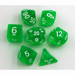 Green Set of 7 Transparent Polyhedral Dice with White Numbers for D20 based RPG's
