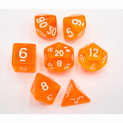 Orange Set of 7 Transparent Polyhedral Dice with White Numbers for D20 based RPG's