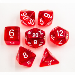 Red Set of 7 Transparent Polyhedral Dice with White Numbers for D20 based RPG's