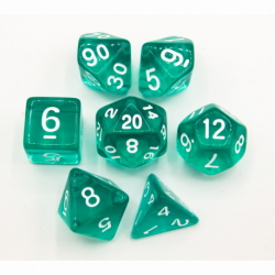 Teal Set of 7 Transparent Polyhedral Dice with White Numbers for D20 based RPG's