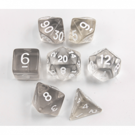 White Set of 7 Transparent Polyhedral Dice with White Numbers for D20 based RPG's