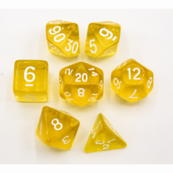 Yellow Set of 7 Transparent Polyhedral Dice with White Numbers for D20 based RPG's