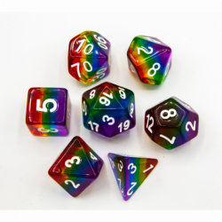 Rainbow Set of 7 Aurora Polyhedral Dice with Silver Numbers for D20 based RPG's