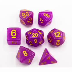 Purple Set of 7 Jelly Polyhedral Dice with Gold Numbers for D20 based RPG's