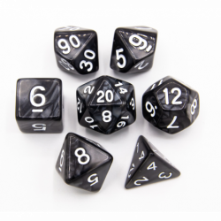 Black Set of 7 Marbled Polyhedral Dice with White Numbers for D20 based RPG's
