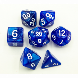 Blue Set of 7 Marbled Polyhedral Dice with White Numbers for D20 based RPG's
