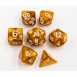 Gold Set of 7 Marbled Polyhedral Dice with White Numbers for D20 based RPG's