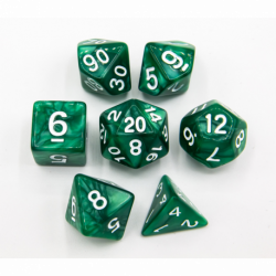 Green Set of 7 Marbled Polyhedral Dice with White Numbers for D20 based RPG's