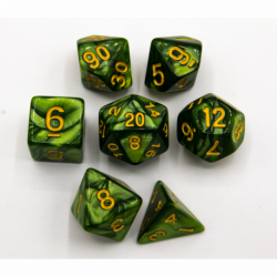 Grass Green Set of 7 Marbled Polyhedral Dice with Gold Numbers for D20 based RPG's
