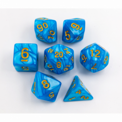 Light Blue Set of 7 Marbled Polyhedral Dice with Yellow Numbers for D20 based RPG's