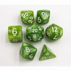 Lime Green Set of 7 Marbled Polyhedral Dice with White Numbers for D20 based RPG's