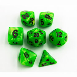Neon Green Set of 7 Marbled Polyhedral Dice with Purple Numbers for D20 based RPG's