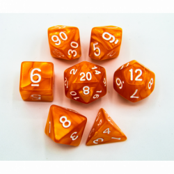 Orange Set of 7 Marbled Polyhedral Dice with White Numbers for D20 based RPG's