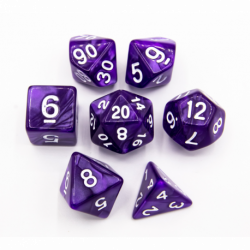 Purple Set of 7 Marbled Polyhedral Dice with White Numbers for D20 based RPG's