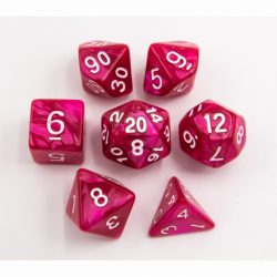 Rose Red Set of 7 Marbled Polyhedral Dice with White Numbers for D20 based RPG's