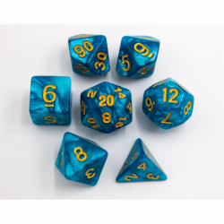 Teal Set of 7 Marbled Polyhedral Dice with Gold Numbers for D20 based RPG's