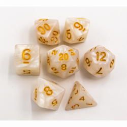 White Set of 7 Marbled Polyhedral Dice with Gold Numbers for D20 based RPG's