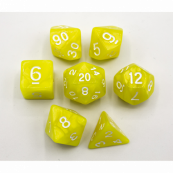 Yellow Set of 7 Marbled Polyhedral Dice with White Numbers for D20 based RPG's