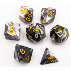 Black Set of 7 Milky Polyhedral Dice with Gold Numbers for D20 based RPG's