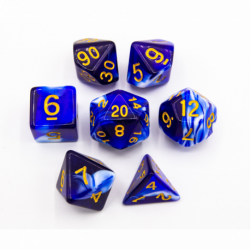 Blue Set of 7 Milky Polyhedral Dice with Gold Numbers for D20 based RPG's