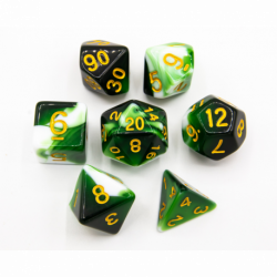 Green Set of 7 Milky Polyhedral Dice with Gold Numbers for D20 based RPG's