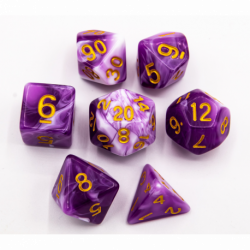 Purple Set of 7 Milky Polyhedral Dice with Gold Numbers for D20 based RPG's