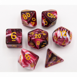 Red Set of 7 Milky Polyhedral Dice with Gold Numbers for D20 based RPG's