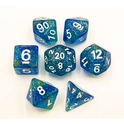 Blue/Yellow Set of 7 Galaxy Polyhedral Dice with White Numbers for D20 based RPG's
