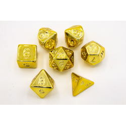 Gold Set of 7 Almost Metal Polyhedral Dice with Gold Numbers for D20 based RPG's