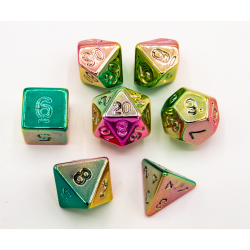 Rainbow Set of 7 Almost Metal Polyhedral Dice with Rainbow Numbers for D20 based RPG's