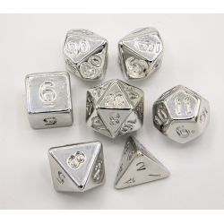 Silver Set of 7 Almost Metal Polyhedral Dice with Silver Numbers for D20 based RPG's