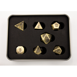 Burnished Set of 7 Metal Polyhedral Dice with Gold Numbers for D20 based RPG's