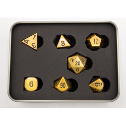 Burnished Set of 7 Metal Polyhedral Dice with Bronze Numbers for D20 based RPG's